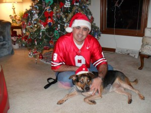 """(Pictured is Dan & Lucky """"The Dog"""" Langshaw)"""